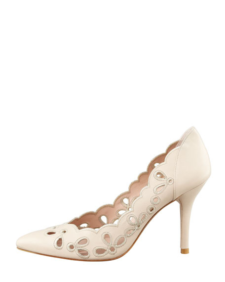 Eyelets Scalloped Pump, Nude
