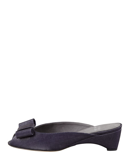 Candy Shimmery Linen Slip-On Wedge, Ink Navy