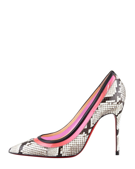 Paulina Colorblock Python Red-Sole Pump