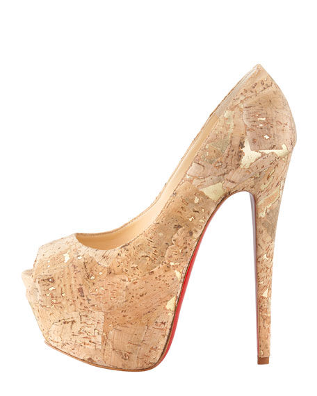 Highness Cork Peep-Toe Platform Red Sole Pump