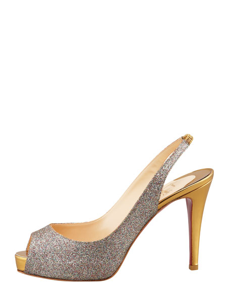 No Prive Glittered Red Sole Slingback Pump
