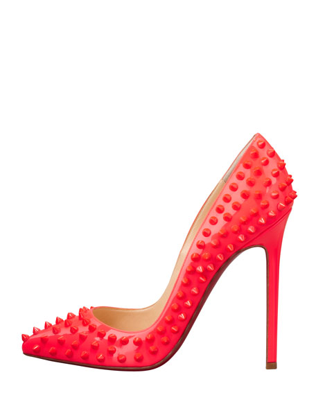 Pigalle Spikes Fluorescent Patent Red Sole Pump, Rose Paris