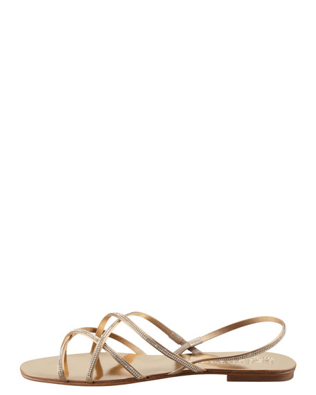 Elora Crystal-Detailed Sandal, Gold
