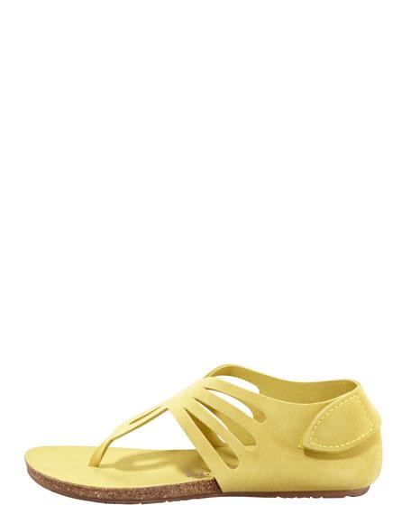Jules Suede Cutout Thong Sandal, Citron
