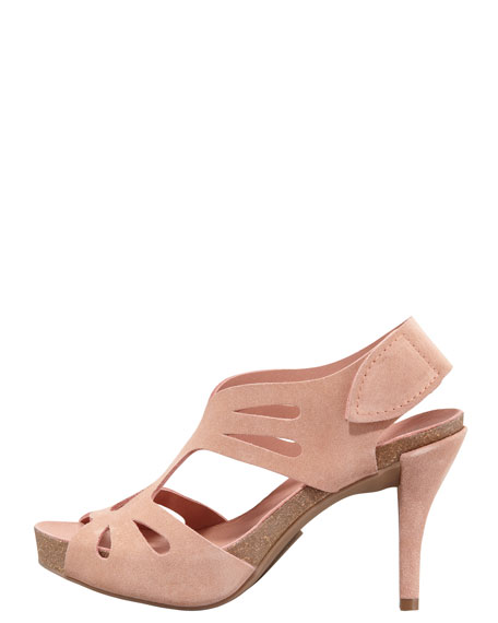 Lucy Suede Cutout Mid-Heel Sandal