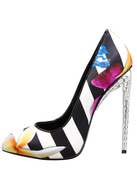 Satin Stripe Floral Pump