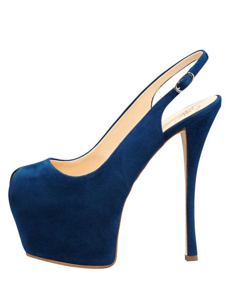 Suede Exaggerated-Platform Slingback, Blue