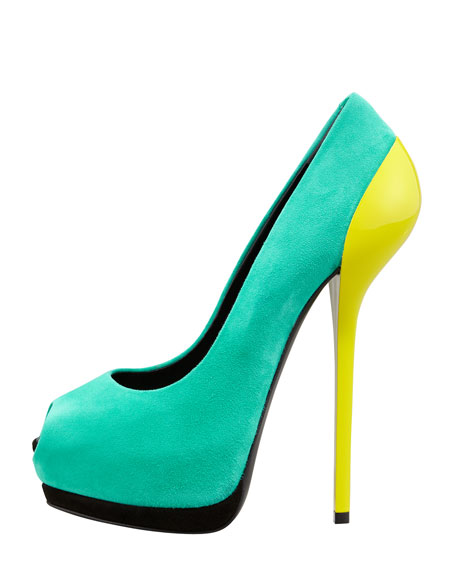 Colorblock Suede Platform Pump