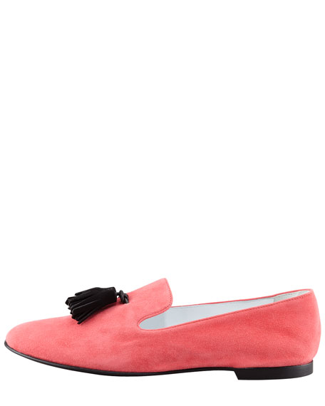 Tasseled Suede Smoking Loafer, Pink