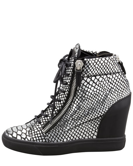 Snake-Print High-Top Sneaker