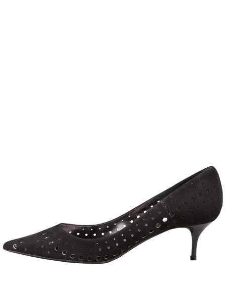 Mila Suede Cutout Pump, Black