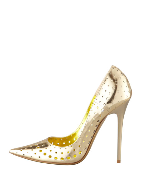 Mime Perforated Mirrored Leather Pump