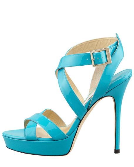 Vamp Crisscross Sandal, Turquoise