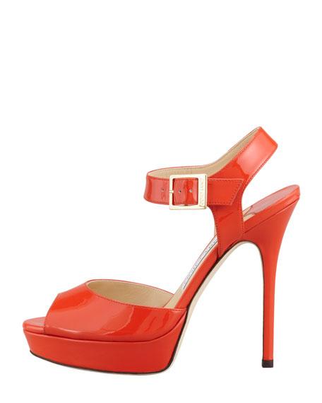 Linda Ankle-Wrap Patent Sandal, Tangerine