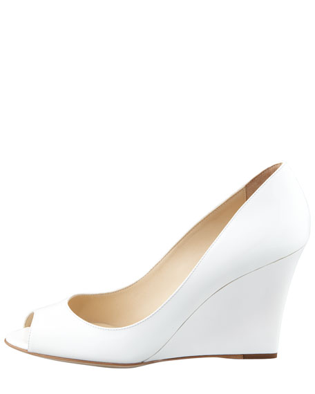 Baxen Peep-Toe Patent Wedge, White