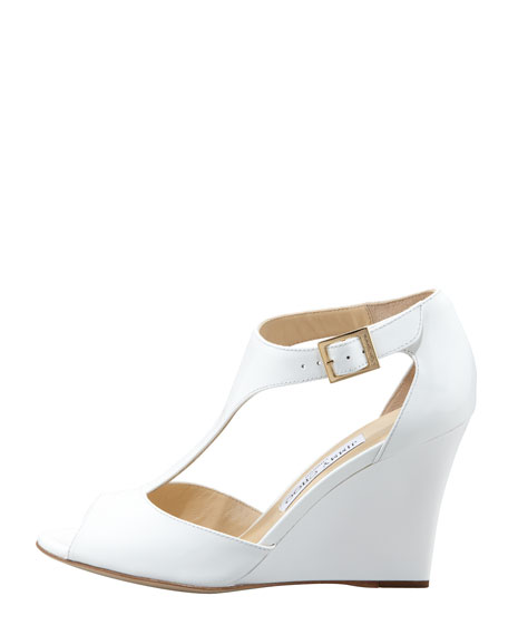 Token Patent T-Strap Wedge Sandal, White