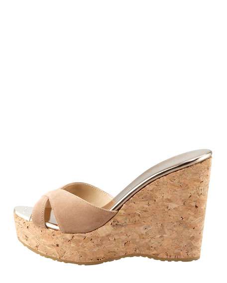 Perfume Cork Wedge Slide, Nude