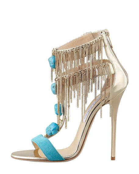 Belle Chain-Fringe T-Strap Sandal