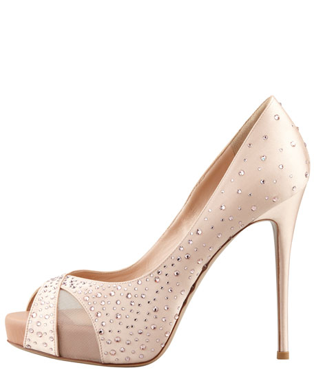 Crystal-Covered Satin Pump