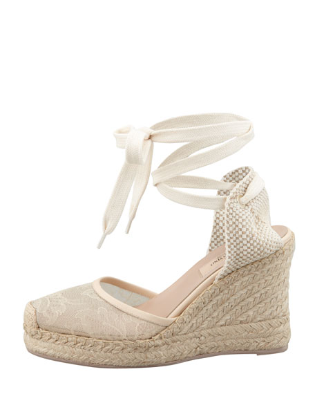 Lace-Covered Espadrille Wedge, Nude