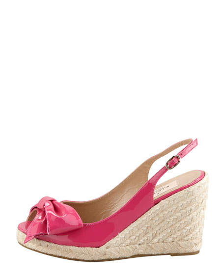 Patent Leather Bow Espadrille Wedge, Fuchsia