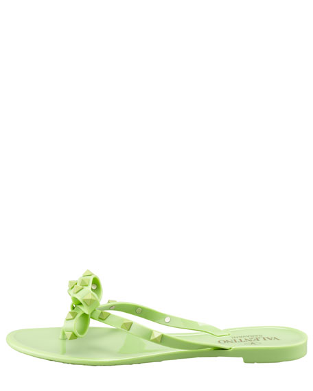 Rockstud PVC Thong Sandal, Apple