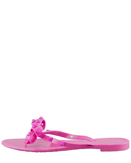 Rockstud PVC Bow Thong Sandal, Fuchsia