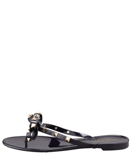 Rockstud PVC Thong Sandal, Black