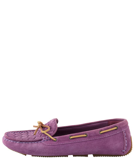 Intrecciato Suede Moccasin, Purple
