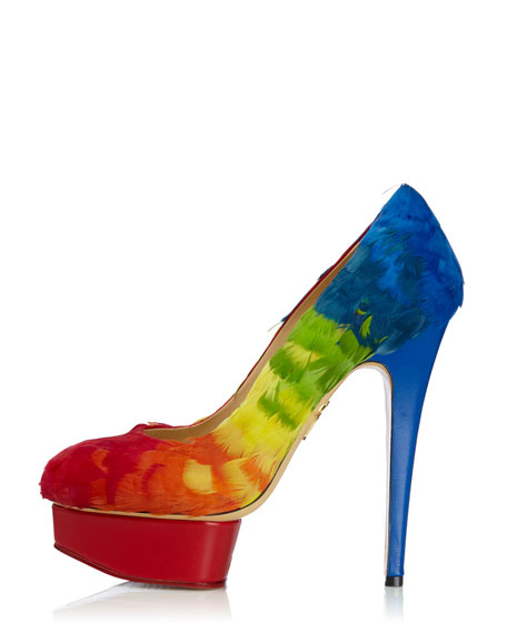 Dolly Rainbow-Feathered Pump