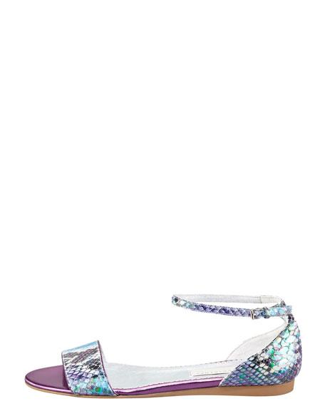 Faux-Snake Flat Ankle-Wrap Sandal