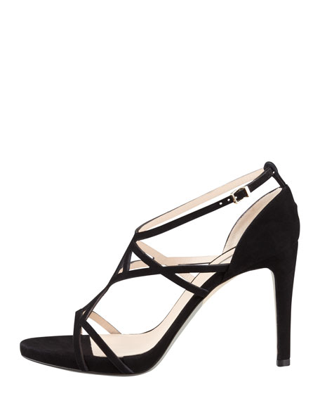 Suede Geometric Strappy Sandal, Black