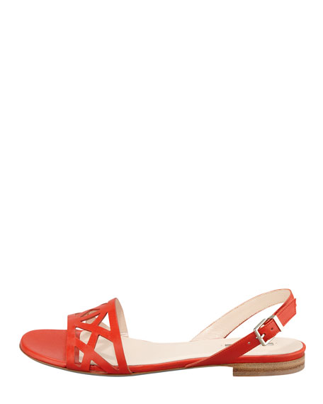 Geometric Halter Flat Sandal, Orange