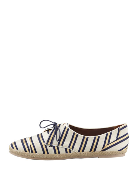 Tie-Striped Flat Espadrille Sneaker, Gold/Navy