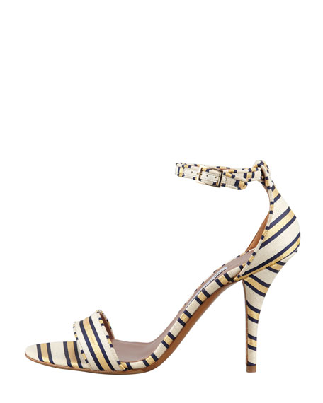 Poppy Necktie-Striped Sandal, Gold/Navy