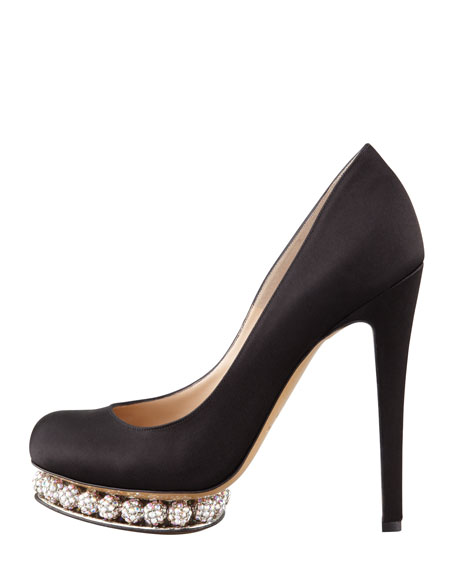 Crystal-Platform Satin Pump, Black