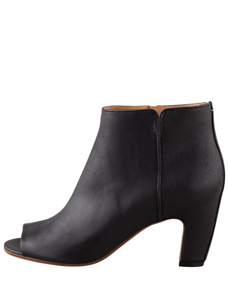 Mid-Heel Peep-Toe Ankle Boot, Black