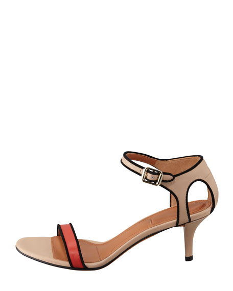 Colorblock Ankle-Wrap Sandal