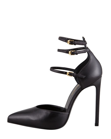 Paris Triple Ankle-Strap Pump, Black