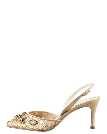 Sequined Beaded Halter Pump