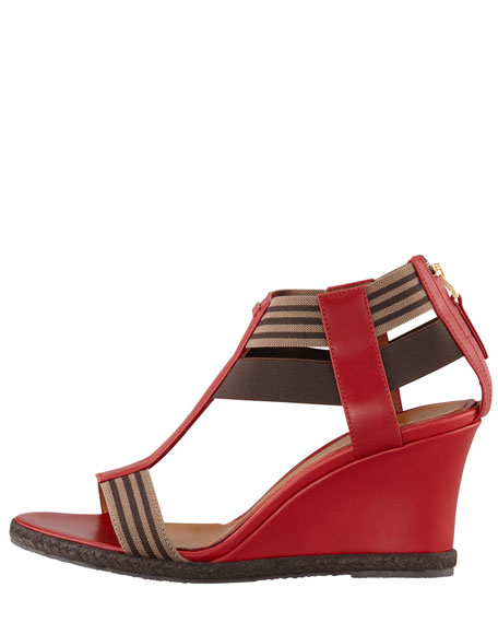 T-Strap Wedge Sandal, Red