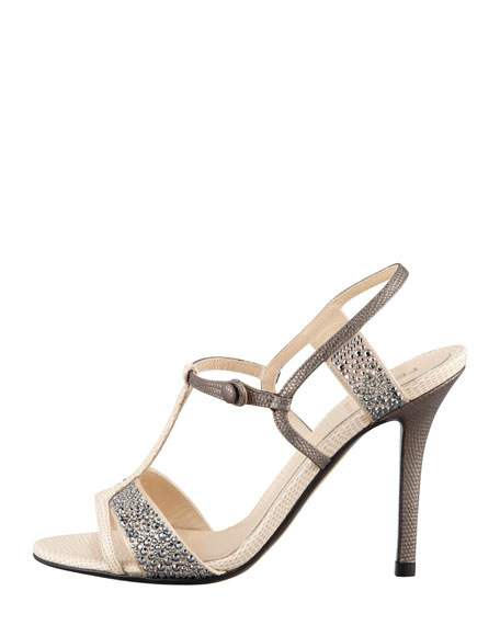 Crystal-Covered T-Strap Sandal