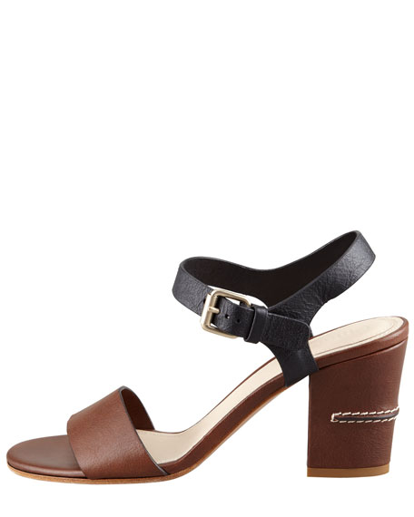 Two-Tone Open-Toe Sandal, Brown/Black