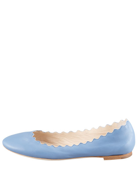 Scallop-Edge Ballerina Flat, Blue