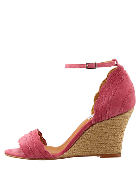 Scalloped Suede Wedge Espadrille