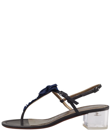 Grosgrain Bow Acrylic-Heel Thong Sandal