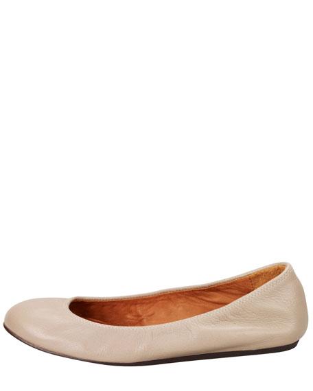 Goatskin Ballerina Flat, Taupe
