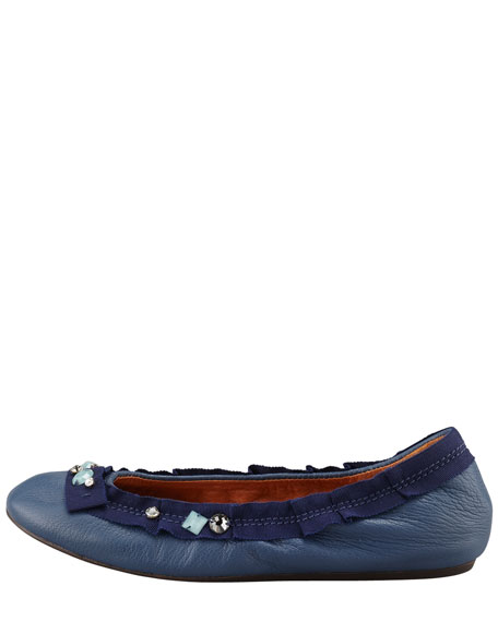Jeweled Ballerina Flat, Blue