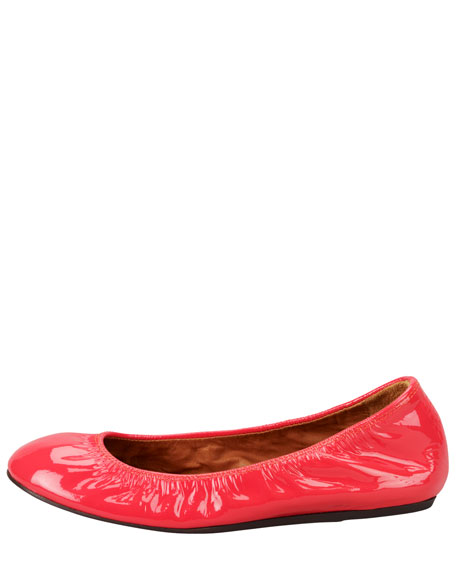 Patent Leather Ballerina Flat, Salmon