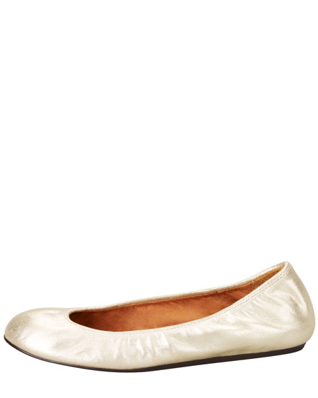 Metallic Leather Ballerina Flat, Gold